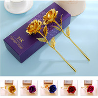 altın kaynaklar toptan satış-DHL 24k Gold Foil Plated Rose Artificial Long Stem Flower Gifts For Lover Wedding Christmas Valentines Mothers Day Gift Box Pack HH9-2564