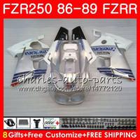 yamaha fzr al por mayor-Cuerpo Blanco plata caliente Para YAMAHA FZR250R FZRR FZR 250R FZR250 86 87 88 89 123HM.11 FZR250RR FZR 250 FZR-250 1986 1987 1988 1989 Kit de carenado