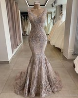 Wholesale crystal chiffon prom dress mermaid for sale - Group buy 2019 Lace Beaded Sexy African Dubai Evening Dresses Deep V neck Mermaid Backless Prom Dresses Vintage Formal Party Bridesmaid Pageant Gowns