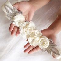 ingrosso perla del cinturino del vestito da cerimonia nuziale-Cintura da sposa da sposa con cinturino 3D Floreale Perla Cintura Fiore Abito da damigella d'onore Accessori da sposa con fascia Abito Abito da sposa SW203