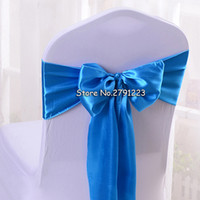 Wholesale orange chair covers for weddings resale online - 100Pcs Satin Chair Sash Bow quot x quot For Banquet Wedding Party Banquet Bow Ties Butterfly Craft Chair Cover Decoration