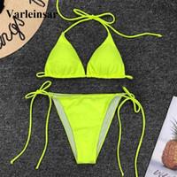 sarı halter mayo toptan satış-Yeni Neon Sarı Brezilyalı Bikini Kadın Mayo 2019 Kadın Mayo İki adet Bikini Set Halter Bather Mayo V1312 Y19052702