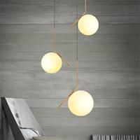 luces de araña al por mayor-La luz LED de la lámpara moderna Bola de cristal de la lámpara pendiente accesorios de comedor Dormitorio esmerilado Pantalla zócalo lámpara colgante Luminaria
