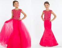 lentejuelas color rosa caliente formal al por mayor-Hot Pink Girls Vestidos del desfile Desmontable Tren Barato Largo Sirena Hollow Volver Rhinestones Con cuentas de lentejuelas Tul largo y barato Niños Formal