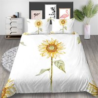 Wholesale bedding sets sunflowers resale online - Sunflower Bedding Set For Girls Elegant Poetic Duvet Cover Cartoon King Queen Twin Full Single Double Soft Bed Cover with Pillowcase