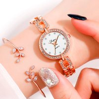 стальной ленточный конвейер оптовых-Изысканные часы-браслет из розового золота женские часы со стразами Женский стальной пояс Кварцевые наручные часы Montre LVPAI 2019