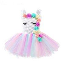 ingrosso tutus arcobaleno per le ragazze-Ragazze Unicorno Flower Tutu Dress pastello Rainbow Princess Girls Birthday Party Dress Bambini Bambini Halloween Unicorn Costume AAA1874