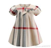 coreano moda vestidos para crianças venda por atacado-2019 novo popular moda meninas vestido de manga curta padrão xadrez designer verão estilo coreano avental crianças roupas vestido