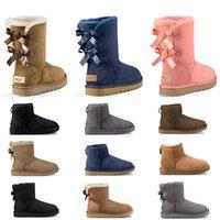 kürk ayakkabıları siyah kadınlar toptan satış-kış siyah kestane moda kadın ayakkabı boyutu 36-41 için 2019 tasarımcı Avustralya kadınlar klasik kar botları ayak bileği kısa yay kürk çizme