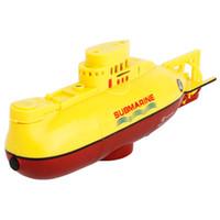 mini submarinos de control remoto al por mayor-3311 3.7 V 120 mAh Mini Control remoto Submarino 27/40 MHz Control de Radio RC Barcos Juguete de los niños con un transmisor a prueba de agua remoto