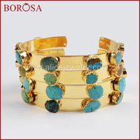 Wholesale blue stone bangles for sale - Group buy BOROSA Fashion Gold Color Seven Natural Blue Stone Bangle for Women New Druzy Blue Stone Gems Drusy for Girl Selling G1341
