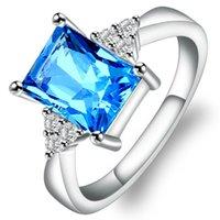 anéis de noivado do oceano venda por atacado-2018 Big Ocean Blue CZ Anéis De Cristal Para O Feminino Prong Setting Cristal Anel De Noivado de Jóias Por Atacado Acessórios MJ119