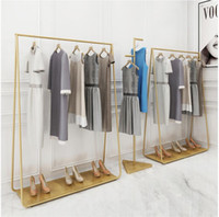 Wholesale store clothes hangers for sale - Golden clothing racks Landing coat hanger in clothing stores Golden Iron Hat Frame Bedroom rack multi functional shoe rack