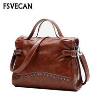 сумочки из ткани оптовых-Luxury Handbags Women Bags Designer Female Daily Vintage Wax Leather Fabric Rivet Ladies Crossbody Shoulder Bag For Woman 2018