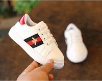 Wholesale small girl slip resale online - New Black white Eur26 Rivets Kids Small bee High Quality Children Shoes Girls Boys Shoes