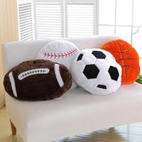 Wholesale football pillows resale online - Simulation football baseball pillow sofa cushion nap pillows Sports theme spherical Cushions fans gifts Decorative Seat Cushions GGA1772