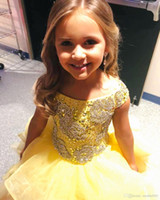 Wholesale girls dress ballgown resale online - Children s Pageant Dress Ruffles Skirt Little Girls Pageant Gowns Long Ballgown Crystals Beading Bodice Off the Shoulder Order to