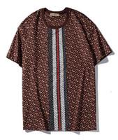 t-shirt imprimé numérique femme achat en gros de-2019 nouveau tee burb hommes femmes rayé TB lettre LOGO numérique impression par pulvérisation directe T-shirt à manches courtes o-cou T-shirt en gros S-XXL