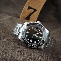 schwarze saphirring männer großhandel-Luxus Herrenuhr automatische mechanische Saphir Keramikring Uhr Versicherung Schnalle Faltschließe Edelstahl klassische schwarze Uhr