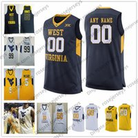 camiseta de baloncesto del oeste al por mayor-Custom West Virginia Mountaineers 2019 Baloncesto Cualquier nombre Número Blanco Azul marino Amarillo 5 McCabe 2 Brandon Knapper WVU NCAA Jersey 4XL