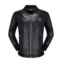 deri deri ceketler bisikletçisi toptan satış-erkek tasarımcı Sahte Deri ceket hip hop moda marka giyim Rahat palto Yüksek Kalite adam lüks bisikletçinin ceket Boyut M-3XL kafataslarını