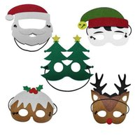 Wholesale reindeers costume resale online - Fashion Funny Christmas Party Mask Reindeer Santa Claus Tree Snowman Masks Children Kids Christmas Dress up Costume Favor Gifts