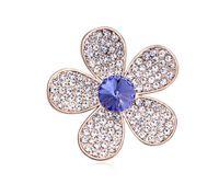 kullanılmış giysiler toptan satış-Ücretsiz kargo moda takı Süsler Swarovski Elemental Kristal Broş Çiçek renk kafiye Kullanarak Tatlı High-end giysiler Broşlar pimleri
