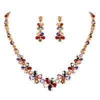 conjuntos de joyas de novia zirconia al por mayor-WEIMANJINGDIAN espumoso Multi flor coloreado conjunto de joyería de Zirconia CZ cristalina del collar del pendiente nupcial cúbico