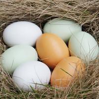juguetes de cocina para niños al por mayor-10 unids Huevos de Madera Creativos Diy Materiales Hechos A Mano Juguetes de Graffiti Cocina Para Niños Juguete Simulado Huevos de Pascua Reutilización Después de la Limpieza J190521
