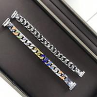 Wholesale mens silver box bracelet resale online - 2 colors new fashion Bracelets colorful silver women mens Charm Bracelets Man bangles fashion Jewelry with gift box