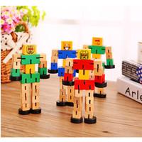 caixa de madeira pvc venda por atacado-Madeira Multifuncional Autobot Madeira Deformação Estéreo Robô de Madeira Inteligência das Crianças Brinquedo Caixa De PVC