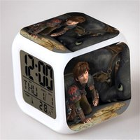Wholesale flash anime for sale – custom How To Train Your Dragon Alarm Clock Square Flash Touch Light Bell Toothless Dragons Anime Kids Toys Battery wtb1