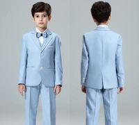 свадебный костюм мальчиков 2t оптовых-Boy Blazers Suits Цветочные Девушка Свадебные Костюмы Размер 2T-14T Мальчик Серый Формальные Костюмы Мальчики Комплект Одежды Дети Формальные Классический Костюм