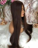 Wholesale burmese silk top wig resale online - Kosher Wigs A Grade Hair Brown Color Finest Malaysian Virgin Human Hair Silky Straight x4 Silk Top Base Jewish Wig