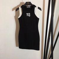 два поддельных платья оптовых-Bodycon платье женщин 2019 года новый тонкий шею белый черный шить принт поддельное платье из двух частей