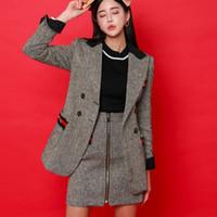 etek kürk toptan satış-Yay ve Sonbahar Kore versiyonu ofis bayan ince yün ceket + fermuar yüksek bel etek