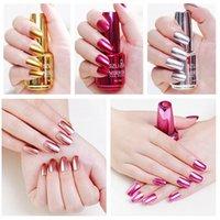 nagellack helle farben großhandel-12 Farben Spiegeloberfläche Nagellack Metall Bright für Nail Art Edelstahl Color Polish Manicure Lack