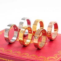 18k diamanten hochzeit ringe großhandel-2019 hochwertige marke titan stahl silber roségold diamant liebe paar ring hochzeit ring für liebhaber männer frauen paar ring box optional