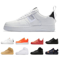 cut shoes al por mayor-Nike Air force 1 one 5.5-11 Utility Red 1 Dunk Casual Shoes Black White Just Orange Wheat Mujer Hombre Zapatillas de deporte High Low Cut Zapatillas deportivas
