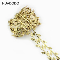 Wholesale silk sliver for sale - Group buy HUADODO meters Gold sliver Silk Leaf Rattan Artificial Flowers leaves For Home Scrapbooking DIY Wreath Wedding Decoration