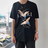 ropa de moda de verano al por mayor-AMIRI Camisetas grúa verano camisetas del diseñador recto del fuego de la grúa blanca Moda Hombres Mujeres Negro camisetas de algodón del hombre del héroe ropas baratas