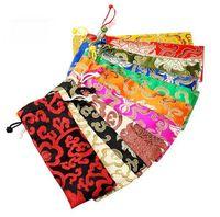 ipek kuyumcu kanca iğne toptan satış-10 adet 7x18 CM, İpli Çanta Ipek Cep takı torbalar elverişli bulut desen karışık renk Çince geleneksel ipek çanta