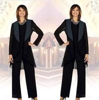 üç parça anne gelin elbisesi toptan satış-2019 Zarif Şifon Anne Gelin Pantolon Ceket ile Suits Üç Adet Dantelli Gelin düğün Konuk Parti Törenlerinde anneler Elbiseler
