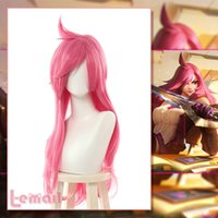 Wholesale pinking hair for sale - Group buy Details about LOL Battle Academia Katarina Cosplay Long Wig Pink Straight Synthetic Anime Hair
