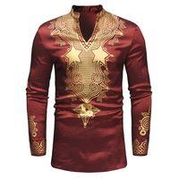 traditionelle lange tops großhandel-Retro-Druck African National Style Langarm-Shirt Mode traditionelle afrikanische Kleidung Streetwear Dashiki Dress Shirt Tops