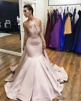 askısız denizkızı tarzı balo elbisesi toptan satış-Yeni Stil Saten Abiye Mermaid Straplez Custom Made Vintage Uzun Gelinlik elbise de soiree