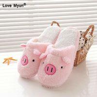 pantoufles de plancher intérieur achat en gros de-nouveau Chaussures Femme Lovely pig Home Floor Doublure Coton-Rembourrée Pantoufles Hiver Femelle Pantoufles Intérieur sapato feminino yhj89