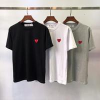 couple rouge t-shirt achat en gros de-Créateur de t-shirt mode homme européen européen petit coeur rouge impression t-shirt hommes femmes couples 100% coton