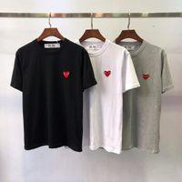 camisa roja pareja al por mayor-Moda para hombre camiseta diseñador de la camiseta europea americana pequeño corazón rojo impresión camiseta hombres mujeres parejas 100% algodón camiseta