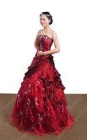 ingrosso taffettà rossa dei vestiti da cerimonia nuziale-KC Sposa abito da sposa nuova occasione formale in rilievo rosso applique Tube top taffettà formale gonna soffice